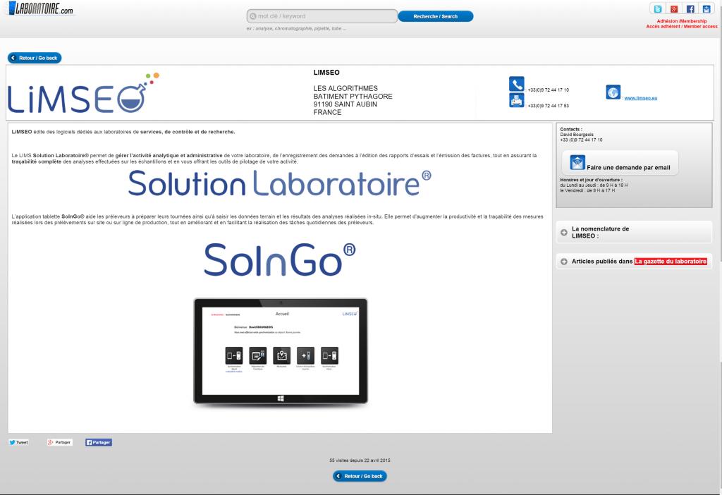 Page LiMSEO sur laboratoire-com