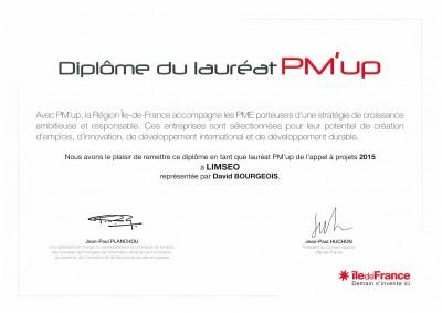 Diplôme Lauréat PM'Up 2015 - LiMSEO